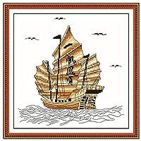 クロスステッチ刺繍キット ボートの風景37x37cm 図柄印刷 初心者 ホームの装飾 贈り物 刺繍糸 針 ホームの装飾