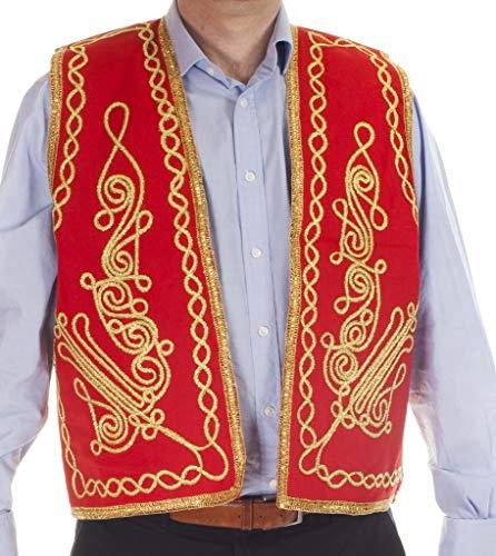 The Turkish Emporium Gilet Turc marocain de Broderies d'or Rouge L