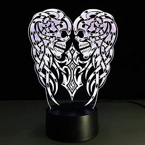 Luz de noche 3D para niños con lámpara decorativa 3D USB cráneo LED mesa noche luz multicolor ilusión óptica escritorio iluminación lámpara táctil para HalloweenBirthday regalo para niños