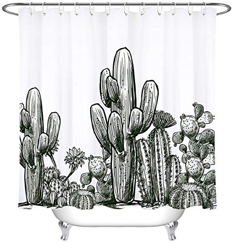 Cactus Plant Shower Curtain Black and White Desert Prickly Succulent