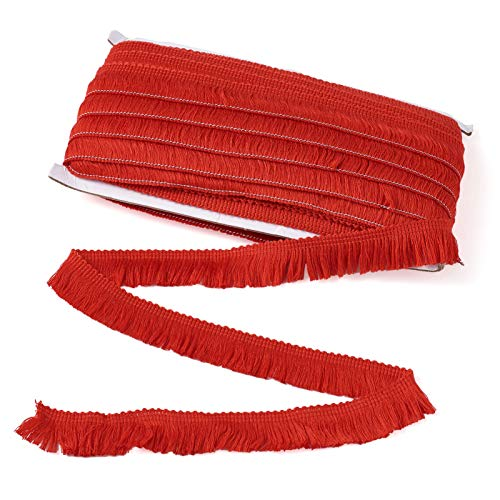 MegaPet Polyester Fringe Tassel Lace Trim 1 Inch x 82 Feet Chainette Fringe Fibre Trim DarkRed for Sewing Quilting Lampshade Curtain Decoration