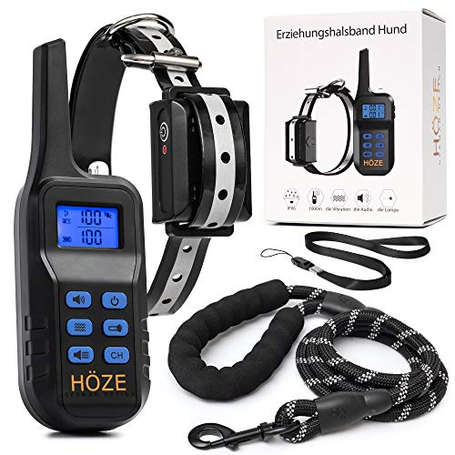 Höze - Halsband Hund, Hunde Halsbänder mit Hundeleine, Dog Leash, Training Pulse with Vibration, Pain-Free, Helps for Strong Dog Barking