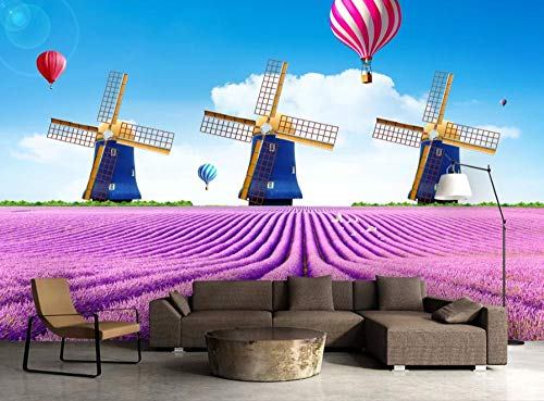 Wall Mural Purple Lavender Hot Air Balloon Windmill Photo Wallpaper Non-Woven Modern Giant Poster Picture HD Print Wall Art Stickers Decal for Bedroom Living Room Office Decoration 200 x 140 cm