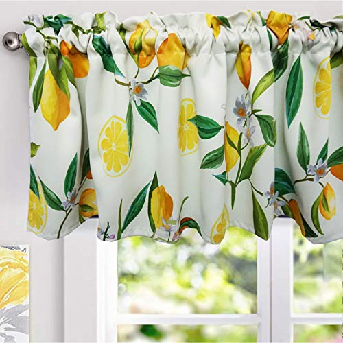 YoKII Lemon Valances for Windows 52''W x 18''L Room Darkening Vintage Floral Curtain Valance Window Treatments for Kitchen Bathroom Living Room Decors (W52 x L18, Yellow)