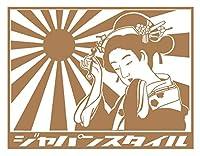 ジャパンスタイル ver.2 (小) 日章旗・旭日旗 ロゴ カッティング ステッカー (18.銅)