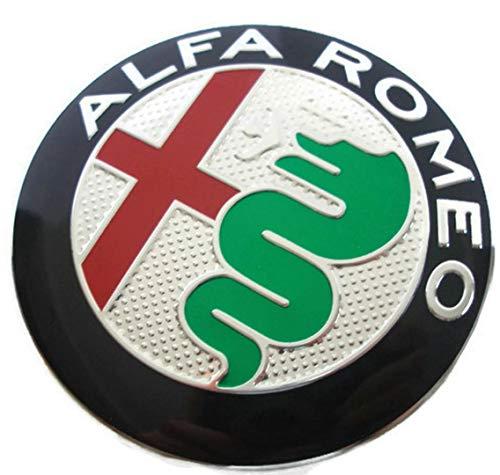 2 Fregi Stemma Alfa Romeo Verde Logo 74mm MY 2016 Cofano Anteriore Posteriore Emblema Green 147 156 159 Brera Mito METALLO