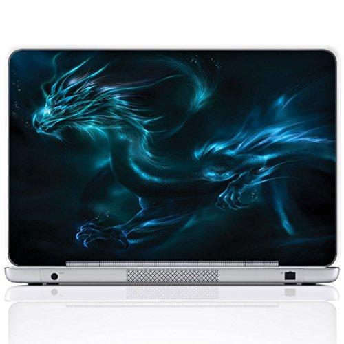 Meffort Inc Aufkleber für Laptop/Notebook (inklusive Handgelenkpolster, personalisierbar) Blauer Drache 17 Inch