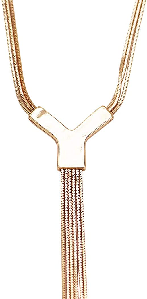 Rosemarie Collections Women's Triple Strand Snake Chain Statement Y Necklace