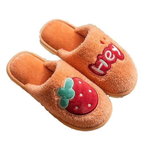 Zapatillas de algodón para Mujer, Dibujos Animados, Frutas, Invierno cálido, Muebles para el hogar, Piso de Felpa, Interior Antideslizante-Fresa_38/39