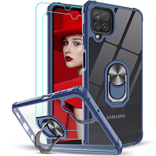 LeYi Hülle Kompatibel mit Samsung Galaxy A12 Handyhülle & Panzerglas Schutzfolie(2 Stück),Ringhalter Schutzhülle Crystal Clear Acryl Cover Air Cushion Bumper Handy Hüllen Hülle Blau