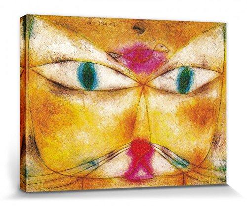 1art1 Paul Klee - Katze Und Vogel, 1928 Bilder Leinwand-Bild Auf Keilrahmen | XXL-Wandbild Poster Kunstdruck Als Leinwandbild 40 x 30 cm