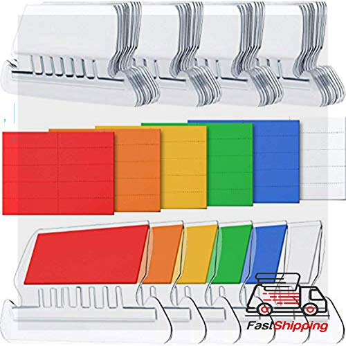 "File Folder Tab - Hanging Folder Tabs and Inserts for Organize and Distinguish Hanging Files, 2"", Clear to Read (60 Sets, Angle Design Multicolor)"