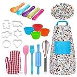 Juego de 30 piezas de disfraces de chef, juego de rol para niños con delantal, sombrero de chef, guante de cocina, moldes de silicona para cupcakes