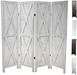 Premium Home Room Divider: Room dividers and Folding Privacy Screens, Privacy Screen, Partition Wall dividers for Rooms, Room Separator, Temporary Wall, Folding Screen, Rustic Barnwood (White X)