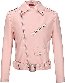 BOMBAX Womens Slim Leather Motorcycle Jacket Blazer Short Bike Coat with Pocket Fall