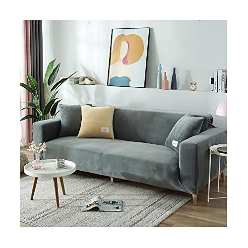 GSYNXYYA Sofabezug, rutschfeste Weiche Elastische Bottom-Möbel-Beschützer, Einfarbige Couch-Sofa-Cover Samt Wasserdicht Für Kinder Katzenhund,Light Gray,2seater 145~185cm