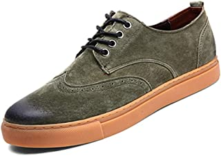 Xiang Ye Men's Fashion Oxford Effortless Comfortable Soft Lace Up Courtly Brogue Leisure Shoes (Color : Green, Size : 7.5 UK)