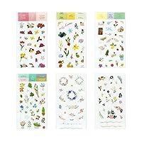 6枚日記ステッカー花柄カレンダーステッカー和紙紙DIYデコレーションジャーナルアルバムノートブックデコレーションスクラップブッキング