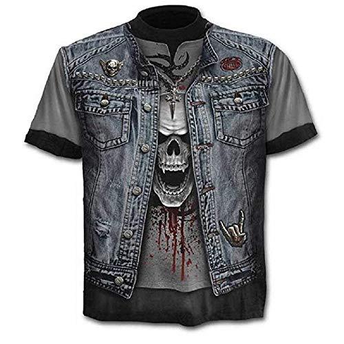 T-Shirt Teschio - Maglia Rock - Metal - Musica - Gotico - Maglietta - 3D - Maniche Corte - Uomo - Donna - Unisex - Divertenti - Idea Regalo - Cosplay - Travestimento- Taglia XL - C01