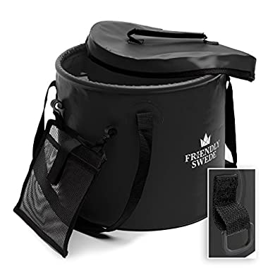 The Friendly Swede Collapsible Bucket for Camping, Travel and Gardening - Portable Folding Wash Basin Water Container Pail, with Lid and Handy Tool Mesh Pocket - by Black, 10L (2.64 gal)