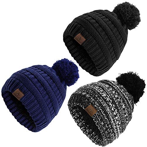 Anazalea Fleece Lined Baby Beanie Hat, Infant Toddler Kids Winter Warm Knit Cap for Boys Girls (Black&Navy&Flower Ash)