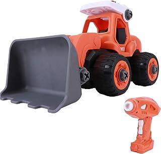 𝐂𝐡𝐫𝐢𝐬𝐭𝐦𝐚𝐬 𝐆𝐢𝐟𝐭 ライト多機能エンジニアリング車のおもちゃ、リモコン車のおもちゃ、DIY子供用(A606 orange red bulldozer)