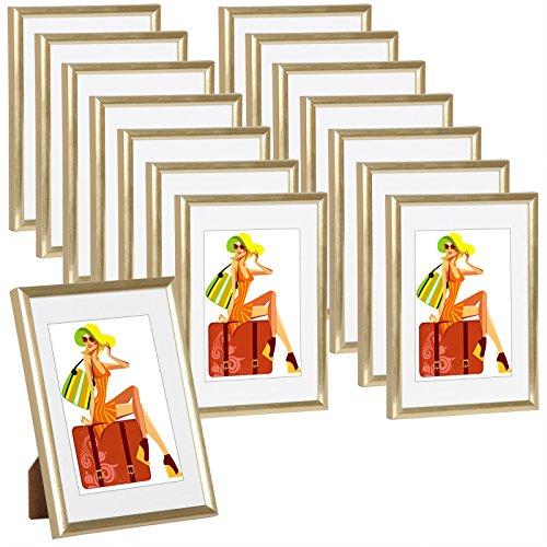 WOLTU #315 Bilderrahmen Bildergalerie Fotogalerie mit Passepartout, Foto Collage Galerie, Kunststoff und Echtglas, New Life Style, Gold, 10x15 cm, 15er Set