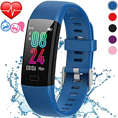 Inspiratek Kids Fitness Tracker for Girls and Boys (Age 5-16)- Waterproof Fitness Watch for Kids with Heart Rate Monitor, Sleep Monitor, Calorie Counter and More - Kids Activity Tracker (Blue)