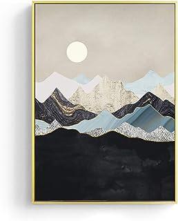 Impresión De La Lona Paisaje Japonés Golden Geometric Mountain Canvas Painting Abstract Poster Print Scandinavian Wall Art Picture For Home Decor, 60X80Cm Sin Marco