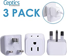 UK, Hong Kong, Ireland Travel Adapter Plug by Ceptics – Usa Input – Type G..