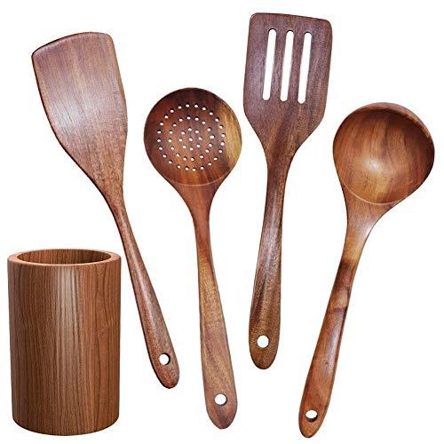 Rfvtgb Holz Geschirr, Teakholz Kochgeschirr Set mit StäNder, Geeignet für Antihaft Koch Geschirr, Holz Schaufel LöFfel Kochen 5 StüCk