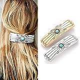 Runmi Horquillas para el pelo Boho Plata Pasadores para el pelo turquesa Accesorios para el pelo para mujeres y niñas (2 unidades)