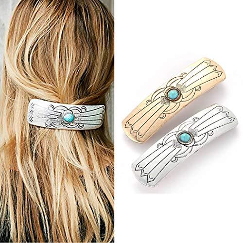 Runmi Boho-Haarspangen, silberfarben, türkis, Haarklammer, Metall-Haarschmuck für Damen und Mädchen (2 Stück)