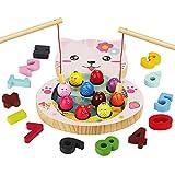 mysunny Giochi in Legno Pesca per Bambini, Gioco Montessori educativi Magnetica, Giocattoli per l'apprendimento del conteggio Digitale per 3 4 5 6 Anni Bimbi Bimba (2 in 1 Gatto)