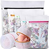 BAGAIL Set of 7 Honeycomb Mesh Laundry Bags for Sweater,Blouse,Hosiery,Stocking,Bras,etc. Delicate Wash Laundry Bags for Travel Storage Organization(7 Set)