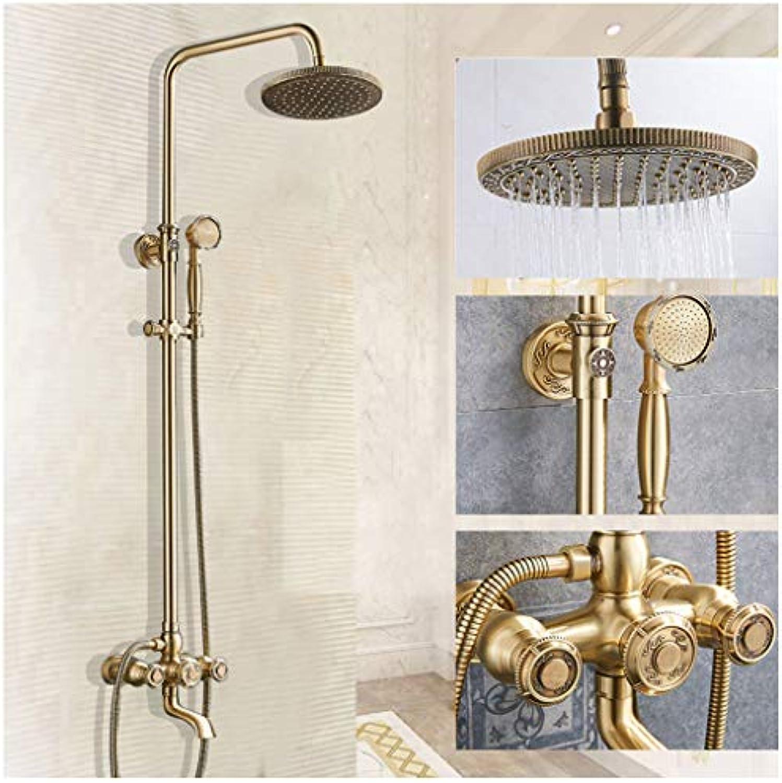 WETERS Retro Bronze Duschsystem Duscharmatur Mit Hhenverstellbar Duschstange 81115 cm, Duschgarnitur Regendusche Shower Set