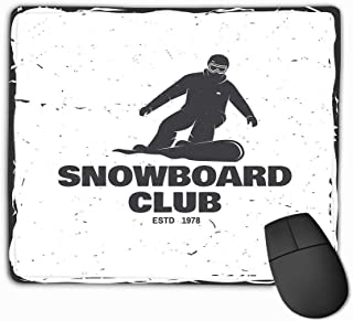 Mousepad Custom Design Gaming Mouse Pad Rubber Oblong Mouse Mat 11.81 X 9.84 Inch Snowboard Club conceplogo Print Stamp Snowboard Club Concept