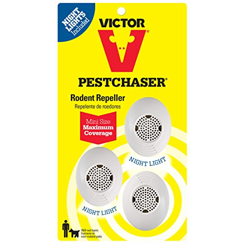 Victor Mini M753SN Ultrasonic Rodent Repeller with Nightlight, 3-Pack (Not available in HI, NM, PR),White