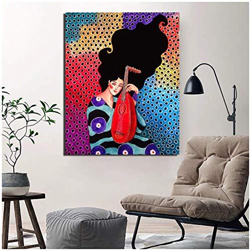 Arte abstracto de la pared de las mujeres del pelo lienzo pintura laúd cartel nórdico cuadros de pared carteles impresiones 20x28in sin marco