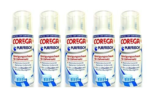 5x COREGA Purfrisch Reinigungsschaum für Zahnersatz, 125 ml, Materialschonend