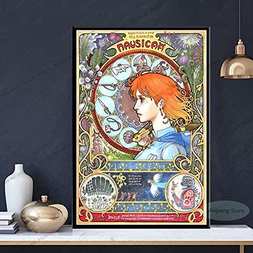 meishaonv Nausicaa della Valle del Vento Anime Studio Ghibli Poster Stampe su Tela Pittura Wall Art Picture A2980 50×70 CM Senza Cornice