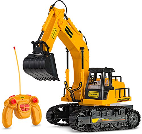 Remote Control RC Excavator Toy Truck with Flashing Lights and SFX - Includes Transmitter and Battery Charger| Battery Operated RC Toy Construction Vehicle for Kids with Cool Sound Effects | Lighting