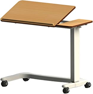 NRS EasyLift Over Bed / Chair Table Beech N85195 Height Adjustable - Curved Wheelchair Base and Tilting Split Top