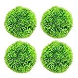 Funmix 4 Bolas de Musgo Marimo, Musgo Verde Artificiales Hechas de plástico Blando para Bricolaje Micro Paisaje decoración de jardín de Hadas decoración en Maceta
