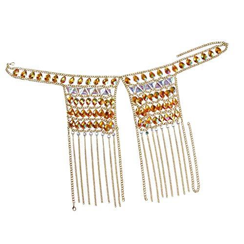 Gargantilla de cadena de hombro de oro con cadena de sujetador abierto de cuerpo de arco iris de cristal de diamantes de imitación