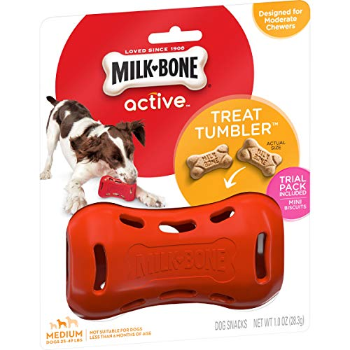 Milk-Bone Active Treat Tumbler, Interactive Dog Treat Dispensing Dog Toy for Medium Treats