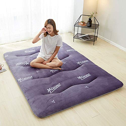 DJQ Floor Futon Mattress, Thick Tatami Mat Foldable Sleeping Mat Breathable Non-slip Mat Roll Bed Mattress for Living Room Bedroom Purple Chair 90x200cm