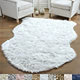 Gorilla Grip Original Premium Faux Sheepskin Fur Area Rug, 3 FT x 5 FT, Softest, Luxurious Carpet Rugs for Bedroom, Living Room, Luxury Bed Side Plush Carpets, Sheepskin, Pure White