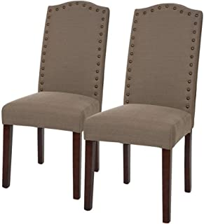 Glitzhome Upholstered Soft Breathable Foam Fabric Dining Chairs with Studded for Living Room Cafe Restaurant Decoration Brown Set of 2