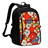 IUBBKI Borsa porta computer USB zaino Japanese Red and Gold Floral Office & School Supplies with USB Data Cable and Music Jack Laptop Bags Computer Notebook 18.1X13.3 inch